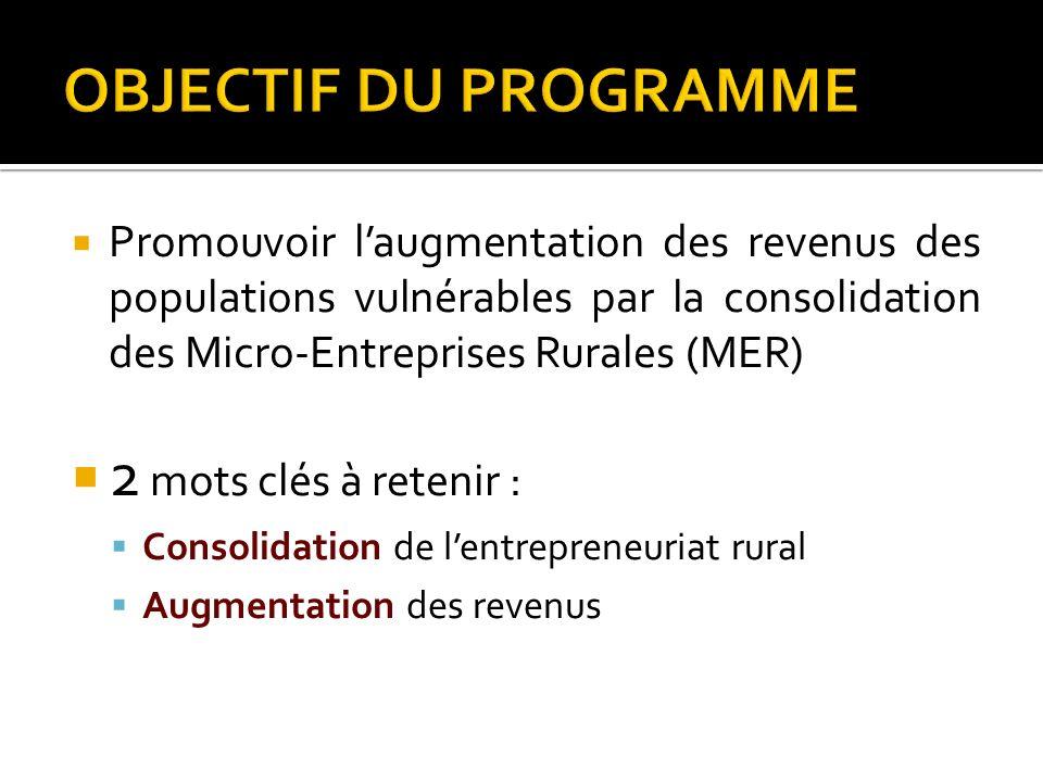 Promouvoir laugmentation des revenus des populations vulnérables par la consolidation des Micro-Entreprises Rurales (MER) 2 mots clés à retenir : Cons
