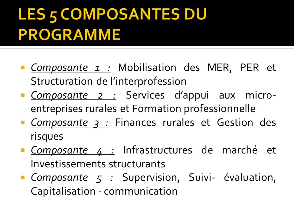Composante 1 : Mobilisation des MER, PER et Structuration de linterprofession Composante 2 : Services dappui aux micro- entreprises rurales et Formati