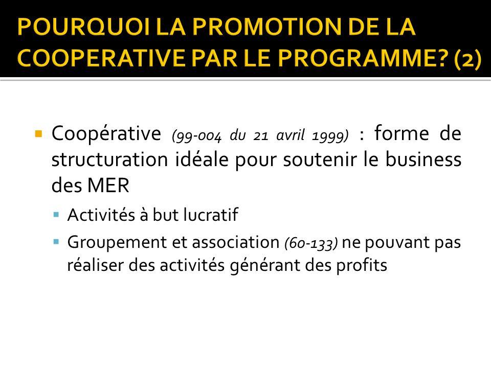 Coopérative (99-004 du 21 avril 1999) : forme de structuration idéale pour soutenir le business des MER Activités à but lucratif Groupement et associa