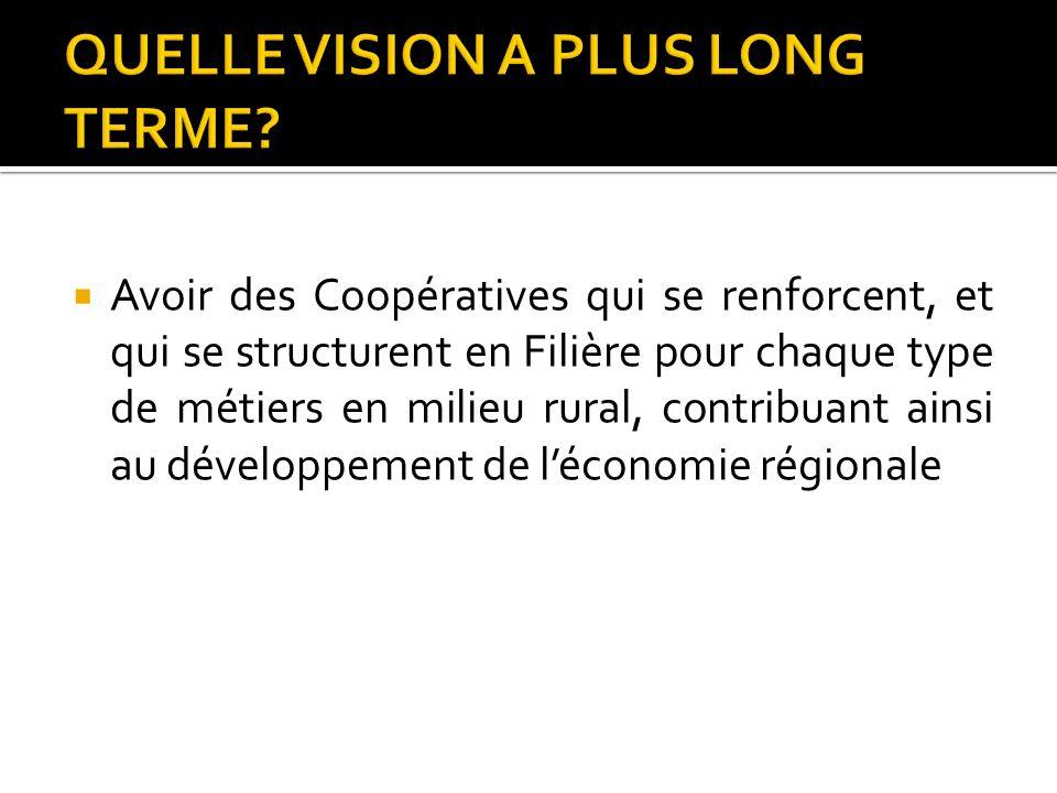 Avoir des Coopératives qui se renforcent, et qui se structurent en Filière pour chaque type de métiers en milieu rural, contribuant ainsi au développe