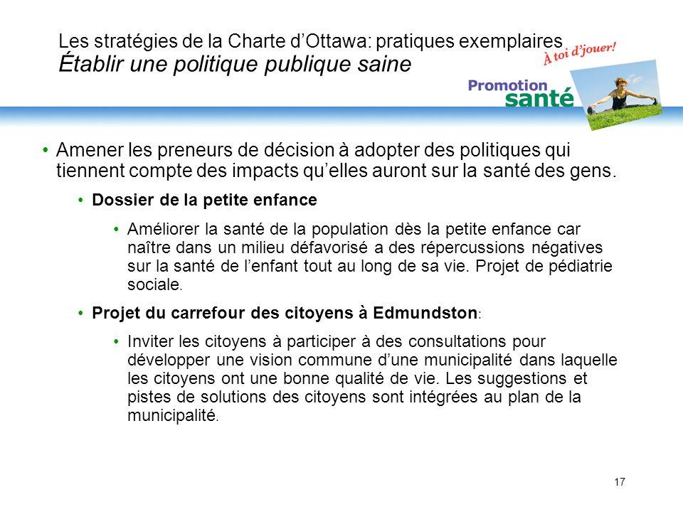 17 Les stratégies de la Charte dOttawa: pratiques exemplaires Établir une politique publique saine Amener les preneurs de décision à adopter des polit