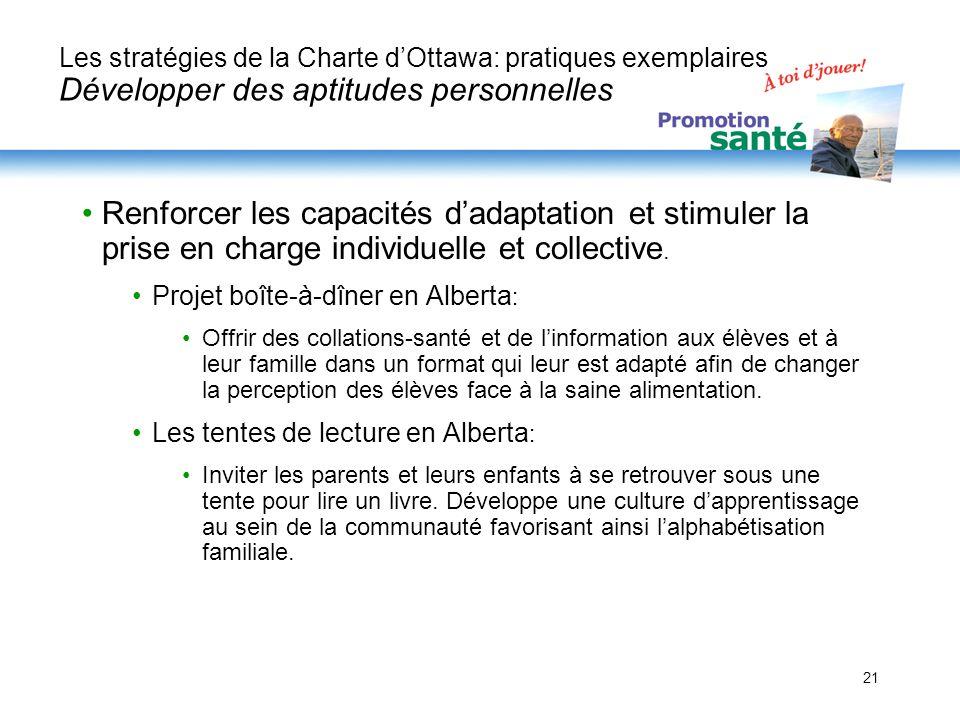 21 Les stratégies de la Charte dOttawa: pratiques exemplaires Développer des aptitudes personnelles Renforcer les capacités dadaptation et stimuler la