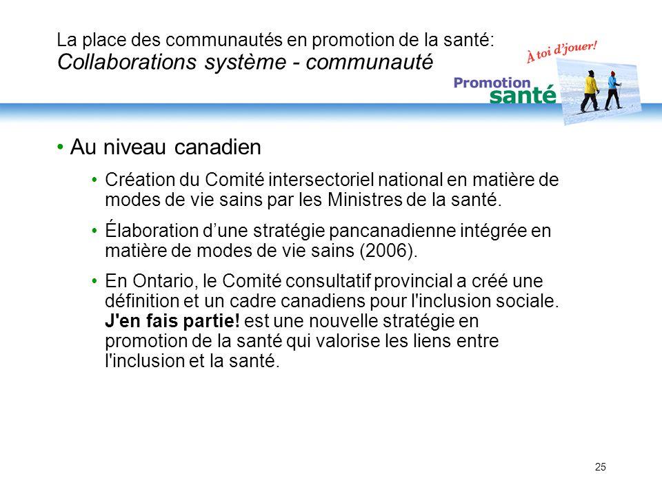 25 La place des communautés en promotion de la santé: Collaborations système - communauté Au niveau canadien Création du Comité intersectoriel nationa