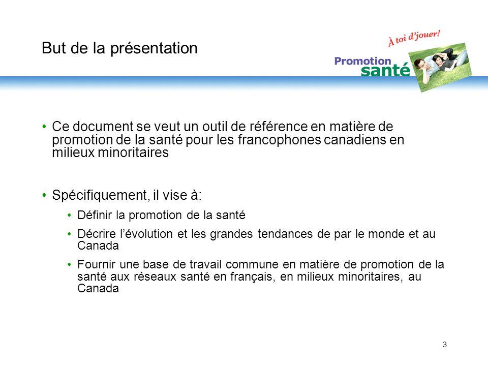 3 But de la présentation Ce document se veut un outil de référence en matière de promotion de la santé pour les francophones canadiens en milieux mino