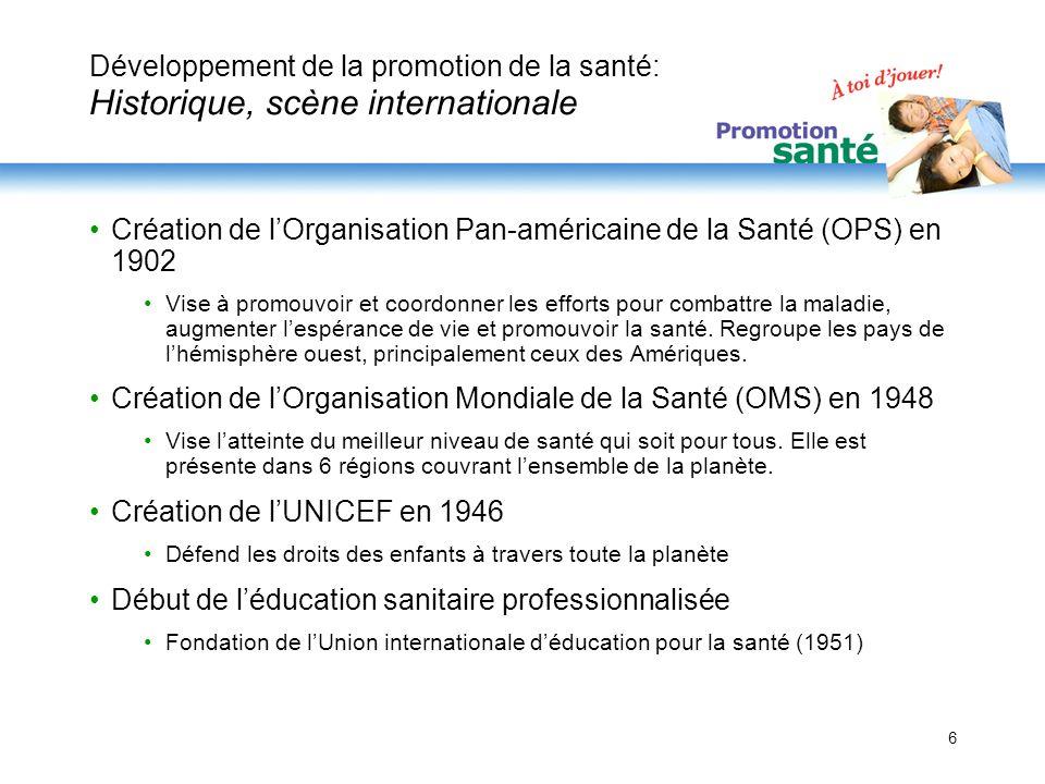 6 Développement de la promotion de la santé: Historique, scène internationale Création de lOrganisation Pan-américaine de la Santé (OPS) en 1902 Vise