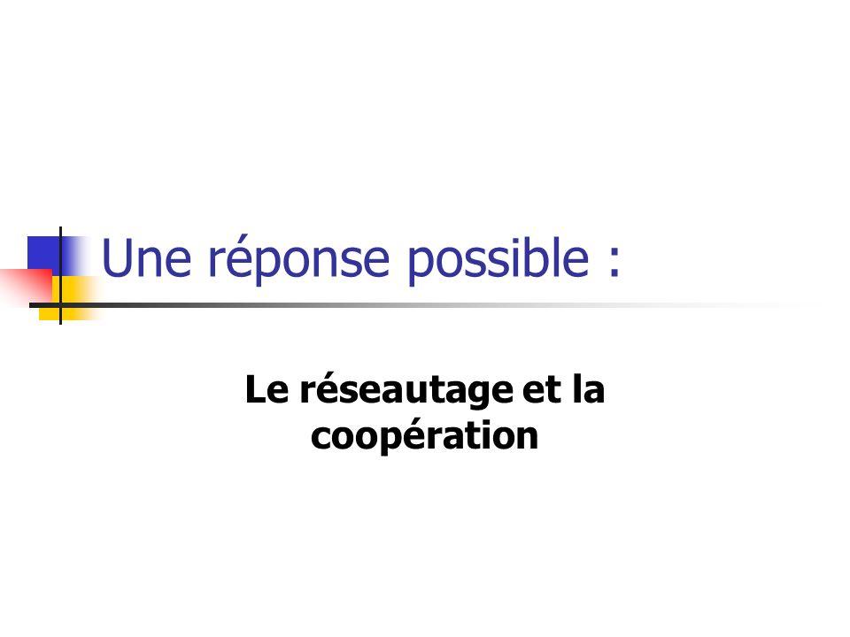 Une réponse possible : Le réseautage et la coopération