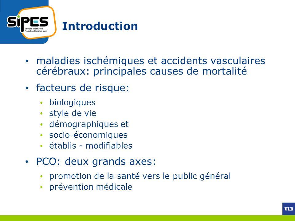 Introduction maladies ischémiques et accidents vasculaires cérébraux: principales causes de mortalité facteurs de risque: biologiques style de vie dém