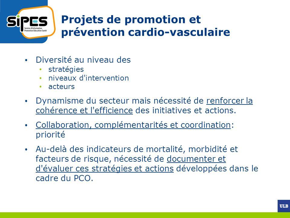 Projets de promotion et prévention cardio-vasculaire Diversité au niveau des stratégies niveaux d'intervention acteurs Dynamisme du secteur mais néces