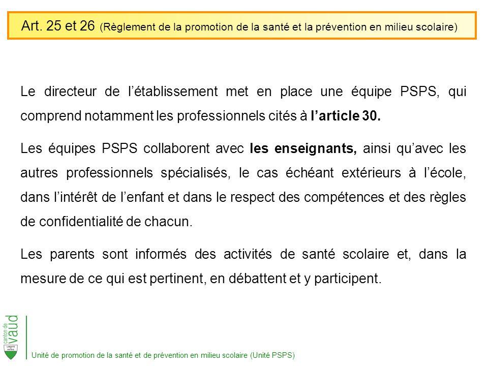 Le directeur de létablissement met en place une équipe PSPS, qui comprend notamment les professionnels cités à larticle 30. Les équipes PSPS collabore