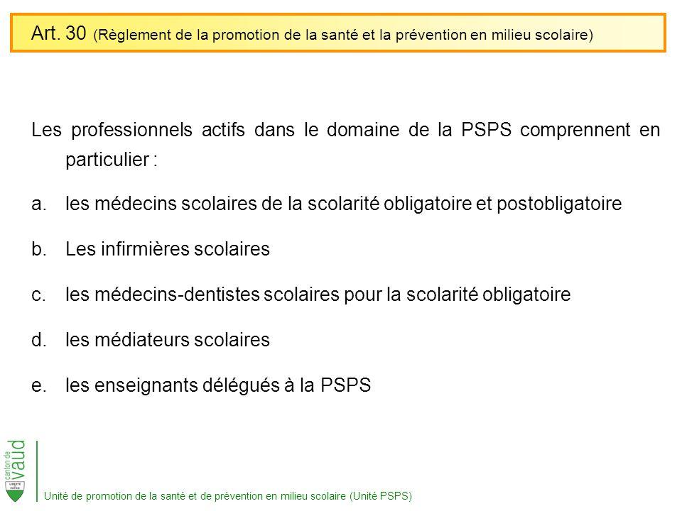 Les professionnels actifs dans le domaine de la PSPS comprennent en particulier : a.les médecins scolaires de la scolarité obligatoire et postobligato