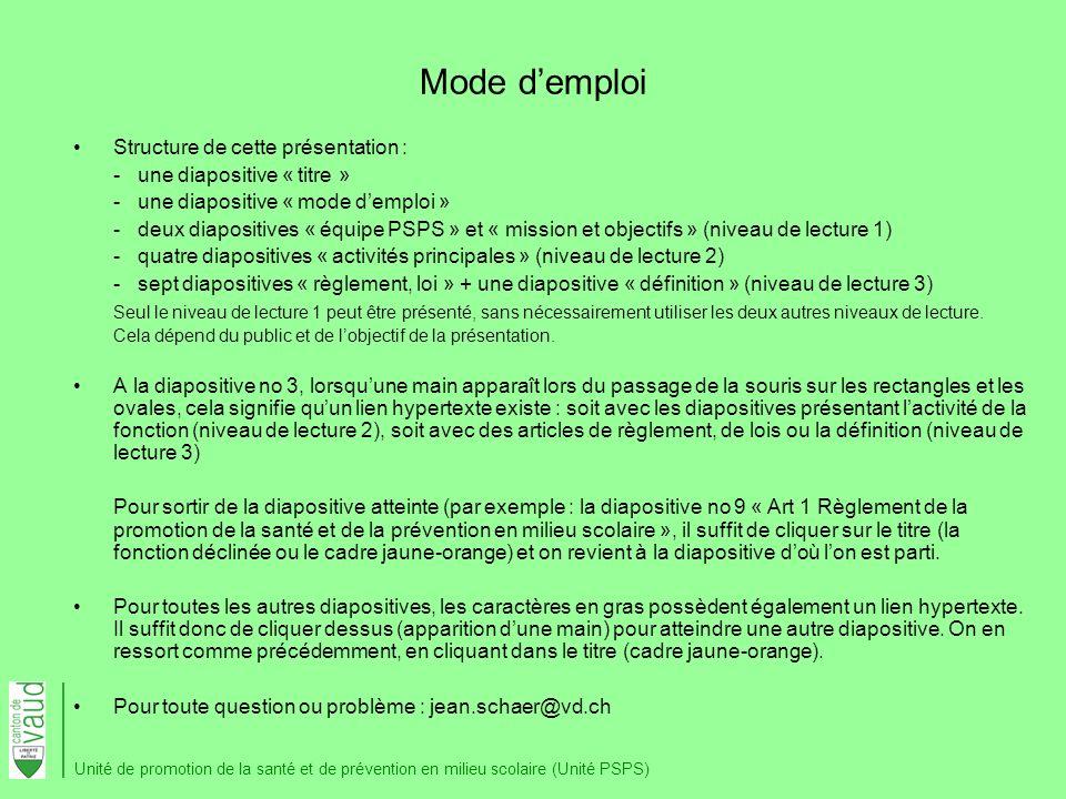Mode demploi Structure de cette présentation : - une diapositive « titre » - une diapositive « mode demploi » - deux diapositives « équipe PSPS » et «