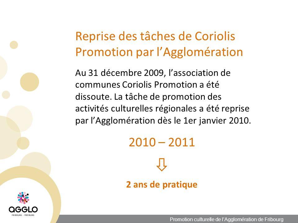 Reprise des tâches de Coriolis Promotion par lAgglomération Au 31 décembre 2009, lassociation de communes Coriolis Promotion a été dissoute.