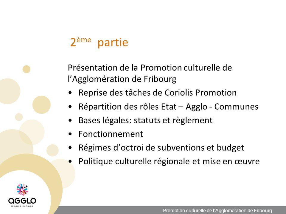 Politique culturelle régionale Concertations Etat – LoRo - Agglo Rencontres périodiques pour une concertation sur les octrois de subventions Concertations dans le cadre de la renégociation des conventions pluriannuelles Concertations dans le cadre de loctroi de subventions annuelles Rôle de la LoRo Promotion culturelle de lAgglomération de Fribourg