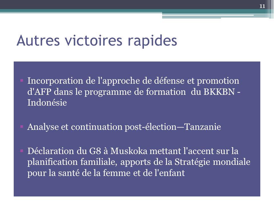 Autres victoires rapides Incorporation de l approche de défense et promotion d AFP dans le programme de formation du BKKBN - Indonésie Analyse et continuation post-électionTanzanie Déclaration du G8 à Muskoka mettant l accent sur la planification familiale, apports de la Stratégie mondiale pour la santé de la femme et de l enfant 11