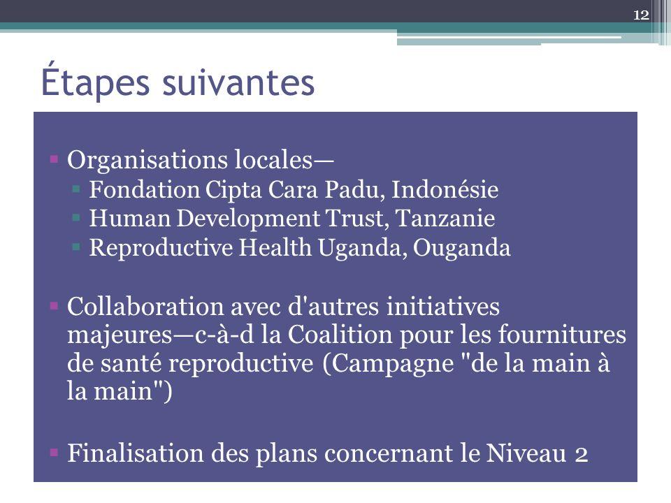Étapes suivantes Organisations locales Fondation Cipta Cara Padu, Indonésie Human Development Trust, Tanzanie Reproductive Health Uganda, Ouganda Collaboration avec d autres initiatives majeuresc-à-d la Coalition pour les fournitures de santé reproductive (Campagne de la main à la main ) Finalisation des plans concernant le Niveau 2 12