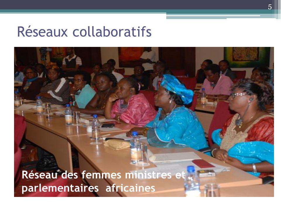 Réseaux collaboratifs Réseau des femmes ministres et parlementaires africaines (AWLN) en faveur de la Santé reproductive et de la Planification familiale Partenaires en Population et développement, Bureau régional de l Afrique Champions des Niveaux 1 & 2 Réseau Santé de la reproduction de l Afrique de l Est Groupe de consultation global Voix du Sud 6