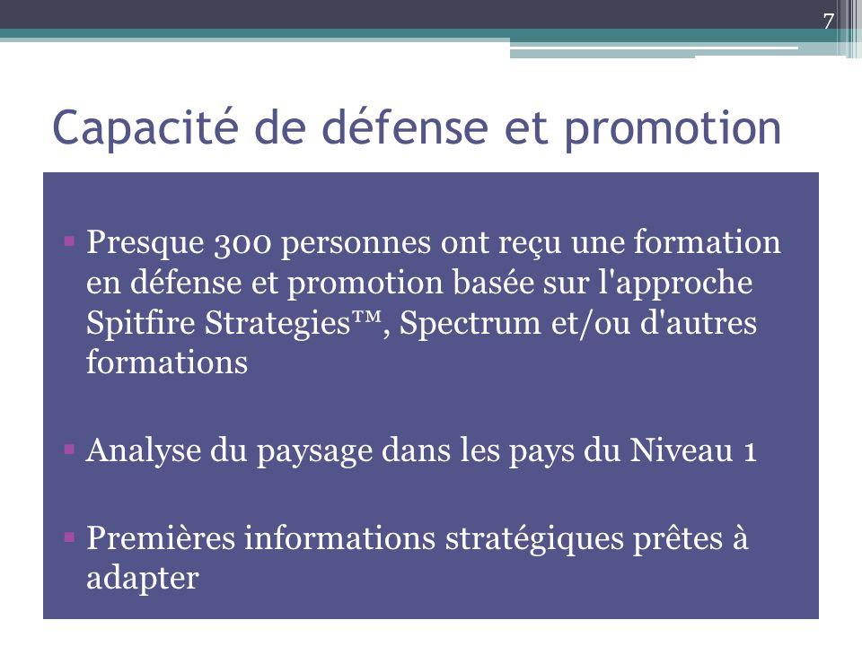 Capacité de défense et promotion Presque 300 personnes ont reçu une formation en défense et promotion basée sur l approche Spitfire Strategies, Spectrum et/ou d autres formations Analyse du paysage dans les pays du Niveau 1 Premières informations stratégiques prêtes à adapter 7