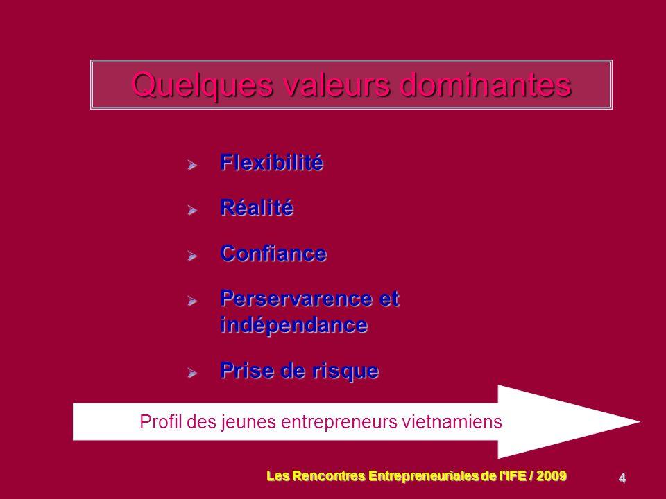 4 Quelques valeurs dominantes Flexibilité Flexibilité Réalité Réalité Confiance Confiance Perservarence et indépendance Perservarence et indépendance Prise de risque Prise de risque Profil des jeunes entrepreneurs vietnamiens Les Rencontres Entrepreneuriales de l IFE / 2009