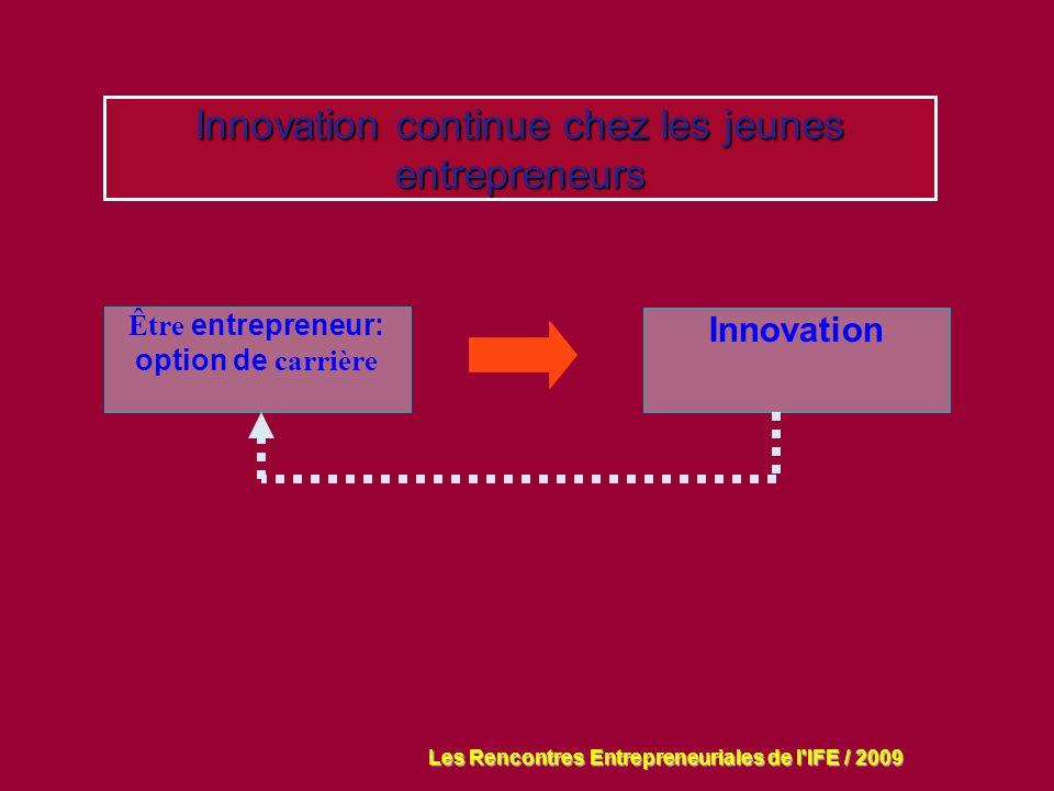 Innovation continue chez les jeunes entrepreneurs Être entrepreneur: option de carrière Innovation Les Rencontres Entrepreneuriales de l IFE / 2009