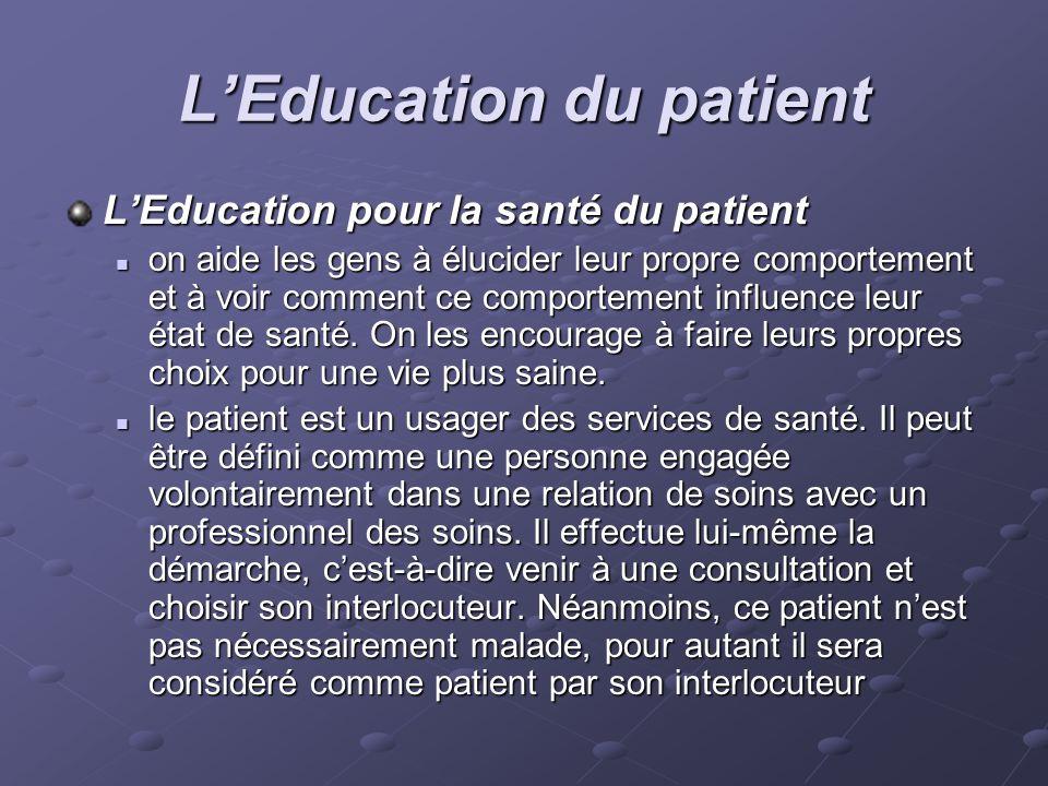 LEducation du patient LEducation pour la santé du patient on aide les gens à élucider leur propre comportement et à voir comment ce comportement influ