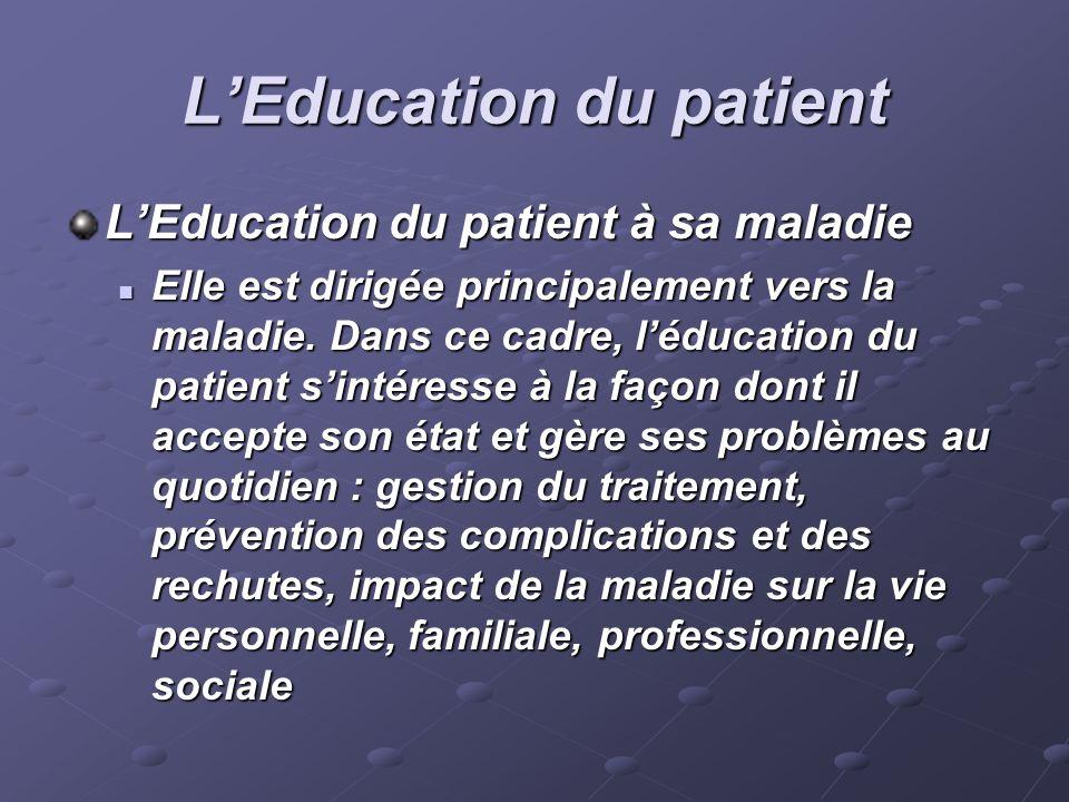LEducation du patient LEducation du patient à sa maladie Elle est dirigée principalement vers la maladie. Dans ce cadre, léducation du patient sintére