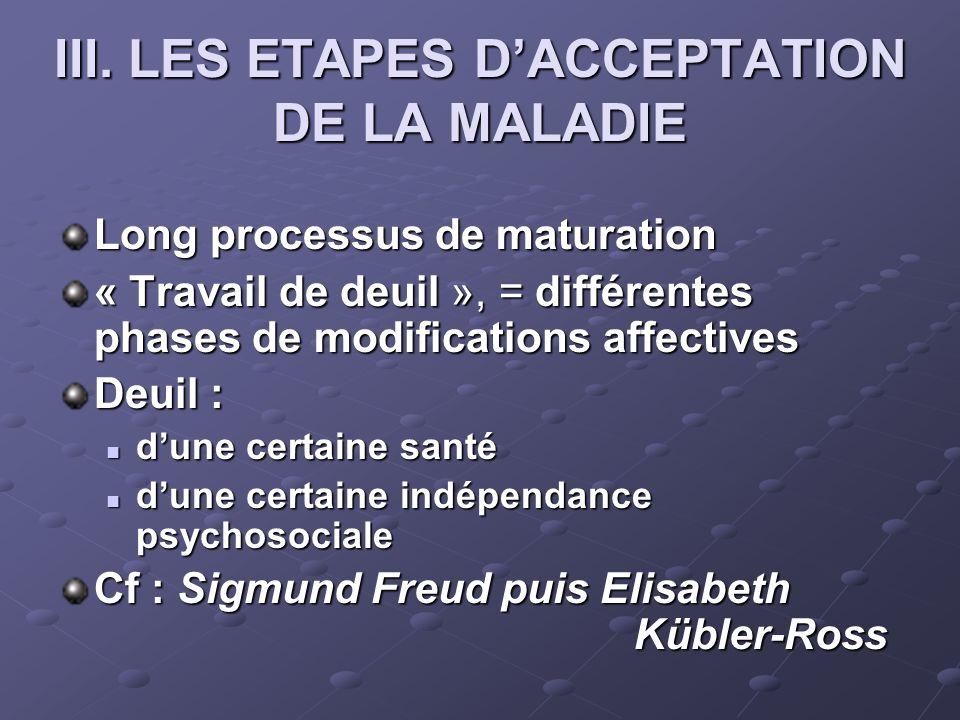 III. LES ETAPES DACCEPTATION DE LA MALADIE Long processus de maturation « Travail de deuil », = différentes phases de modifications affectives Deuil :