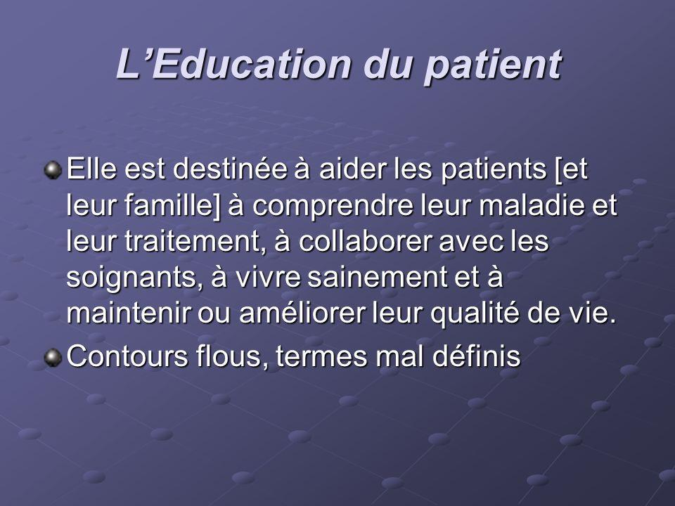 LEducation du patient Elle est destinée à aider les patients [et leur famille] à comprendre leur maladie et leur traitement, à collaborer avec les soi