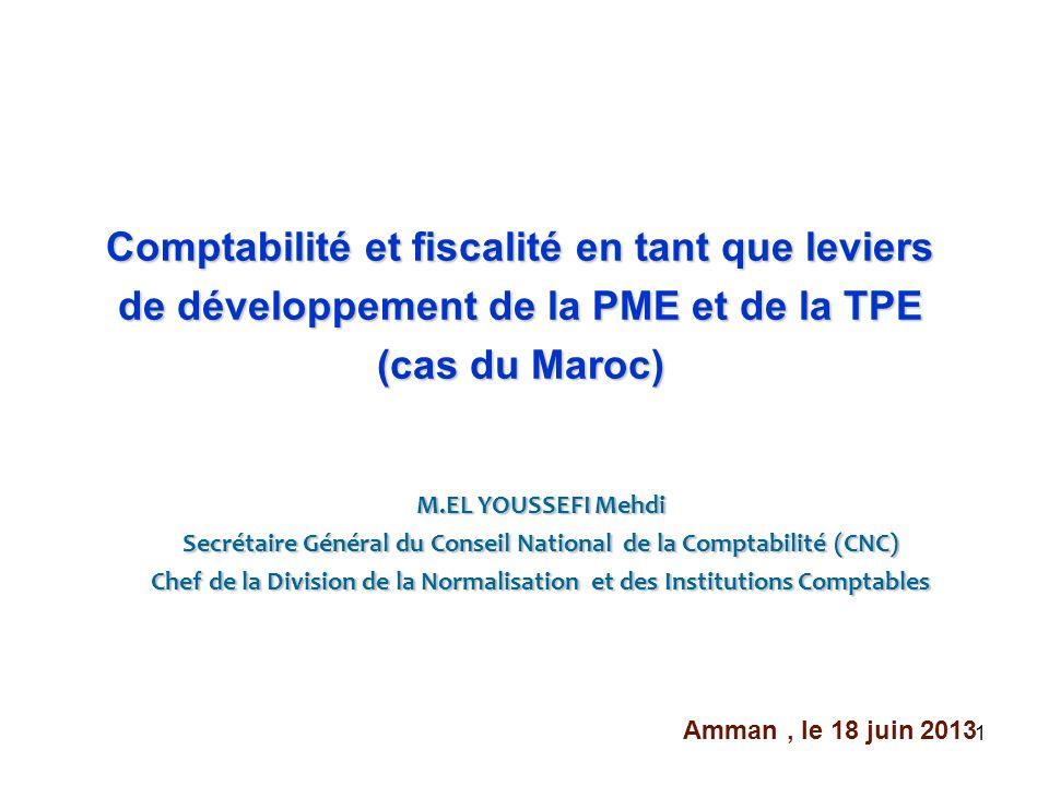 1 M.EL YOUSSEFI Mehdi Secrétaire Général du Conseil National de la Comptabilité (CNC) Chef de la Division de la Normalisation et des Institutions Comp