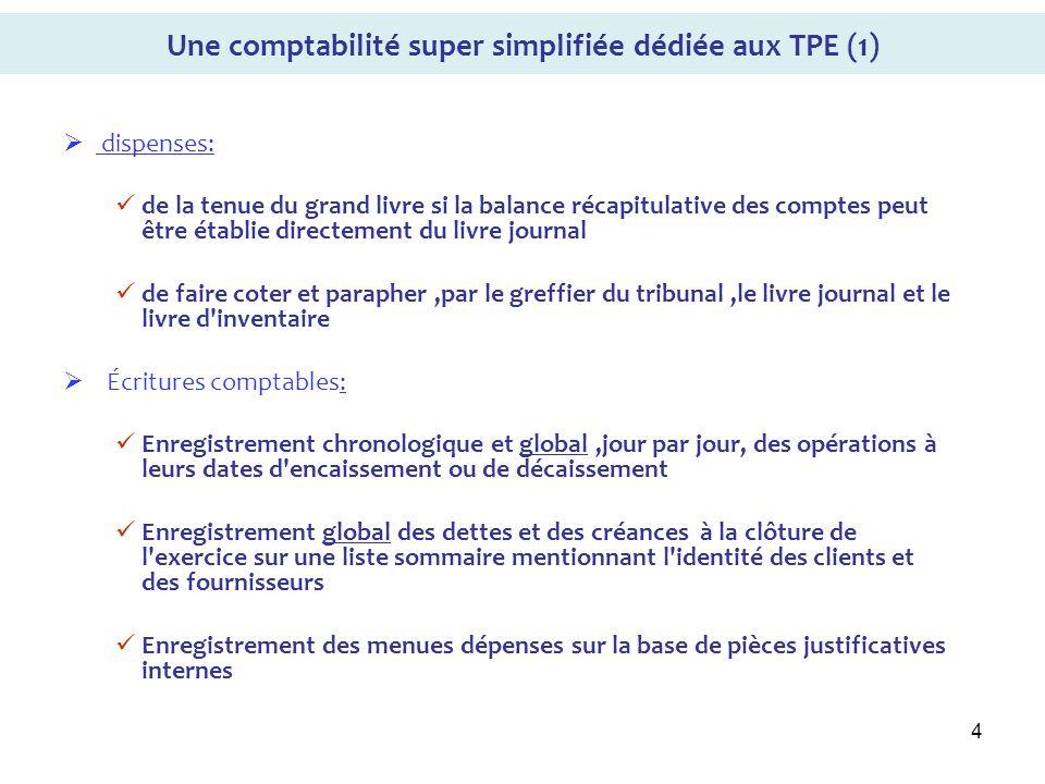 4 Une comptabilité super simplifiée dédiée aux TPE (1) dispenses: de la tenue du grand livre si la balance récapitulative des comptes peut être établi