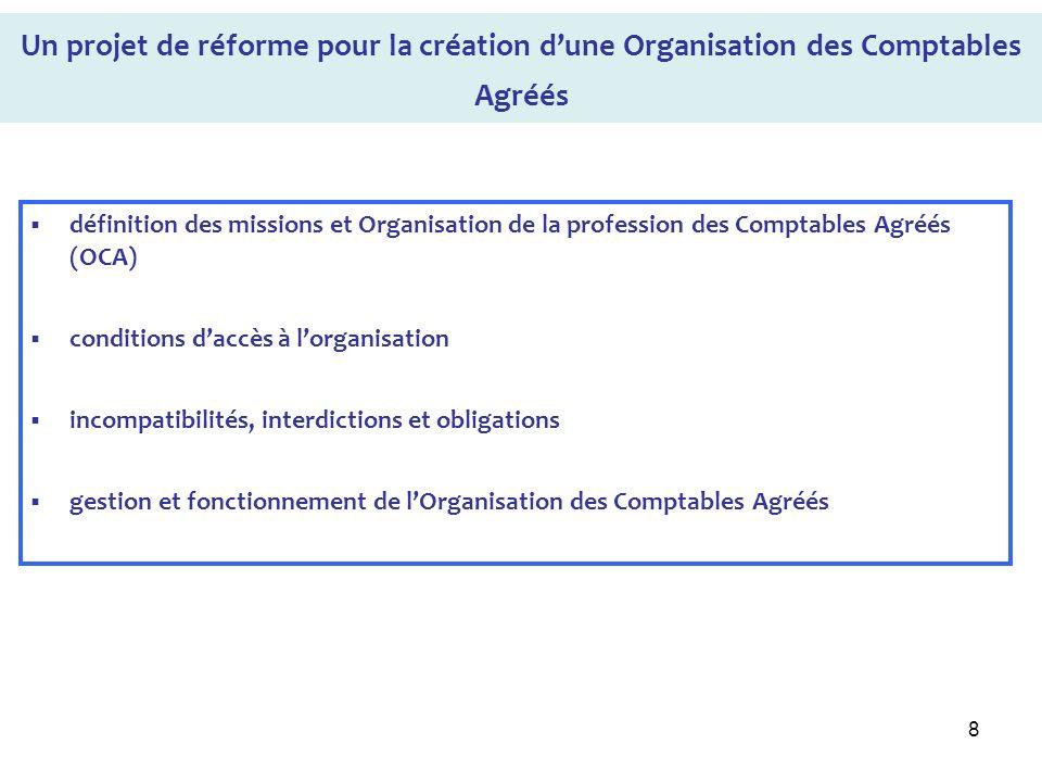 8 Un projet de réforme pour la création dune Organisation des Comptables Agréés définition des missions et Organisation de la profession des Comptable