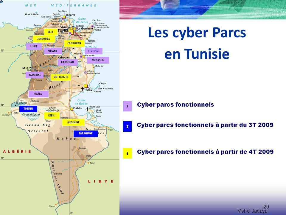 20 Les cyber Parcs en Tunisie LE KEF KASSERINE SILIANA GAFSA MONASTIR H.SOUSSE KAIROUAN TOZEUR MEDENINE TATAOUINE KEBILI BEJA JENDOUBA ZAGHOUAN SIDI BOUZID 7 2 Cyber parcs fonctionnels Cyber parcs fonctionnels à partir du 3T 2009 Cyber parcs fonctionnels à partir de 4T 2009 6