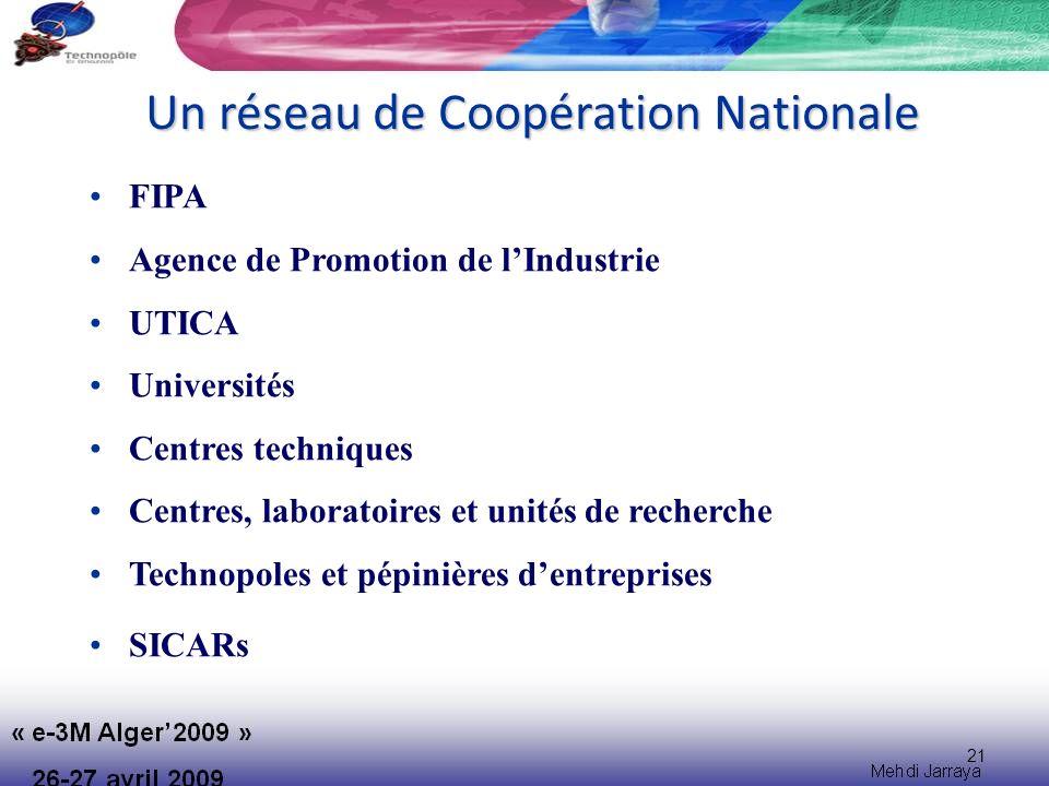21 Un réseau de Coopération Nationale FIPA Agence de Promotion de lIndustrie UTICA Universités Centres techniques Centres, laboratoires et unités de recherche Technopoles et pépinières dentreprises SICARs