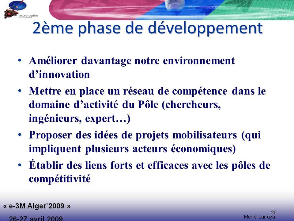 26 2ème phase de développement Améliorer davantage notre environnement dinnovation Mettre en place un réseau de compétence dans le domaine dactivité du Pôle (chercheurs, ingénieurs, expert…) Proposer des idées de projets mobilisateurs (qui impliquent plusieurs acteurs économiques) Établir des liens forts et efficaces avec les pôles de compétitivité