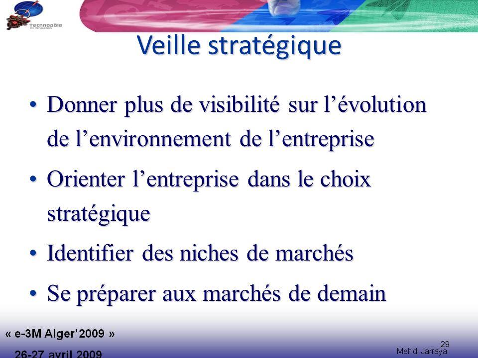 29 Veille stratégique Donner plus de visibilité sur lévolution de lenvironnement de lentrepriseDonner plus de visibilité sur lévolution de lenvironnement de lentreprise Orienter lentreprise dans le choix stratégiqueOrienter lentreprise dans le choix stratégique Identifier des niches de marchésIdentifier des niches de marchés Se préparer aux marchés de demainSe préparer aux marchés de demain