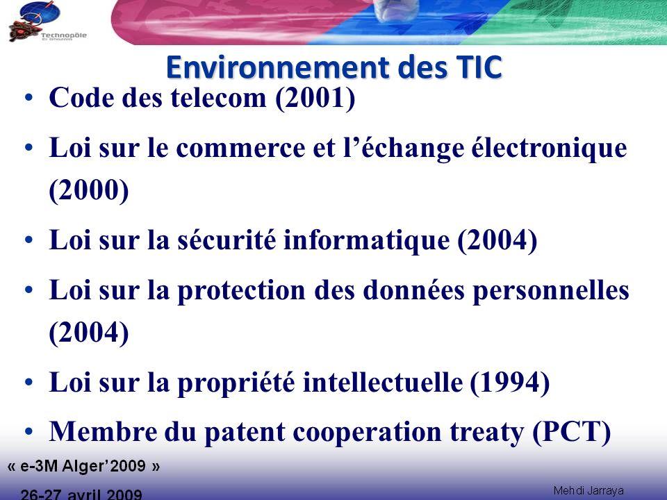 Environnement des TIC Code des telecom (2001) Loi sur le commerce et léchange électronique (2000) Loi sur la sécurité informatique (2004) Loi sur la protection des données personnelles (2004) Loi sur la propriété intellectuelle (1994) Membre du patent cooperation treaty (PCT)