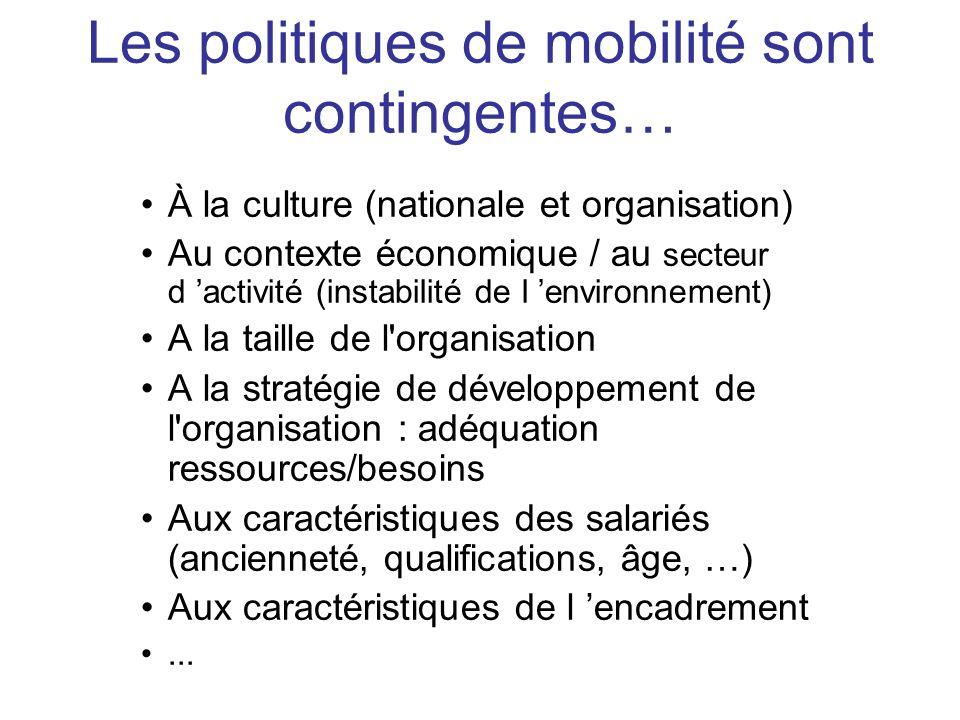 À la culture (nationale et organisation) Au contexte économique / au secteur d activité (instabilité de l environnement) A la taille de l'organisation