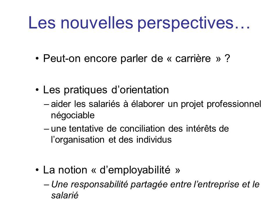 Peut-on encore parler de « carrière » ? Les pratiques dorientation –aider les salariés à élaborer un projet professionnel négociable –une tentative de