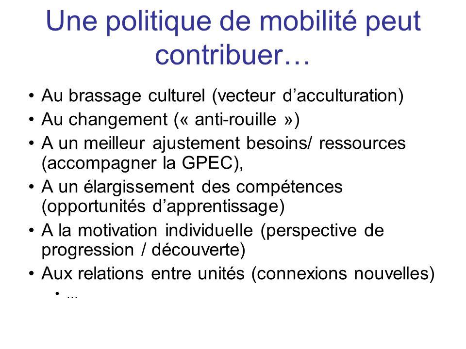 Au brassage culturel (vecteur dacculturation) Au changement (« anti-rouille ») A un meilleur ajustement besoins/ ressources (accompagner la GPEC), A u
