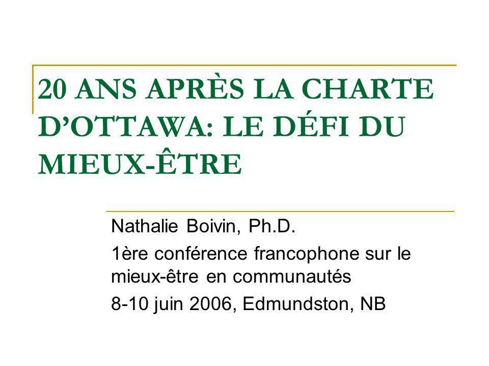 20 ANS APRÈS LA CHARTE DOTTAWA: LE DÉFI DU MIEUX-ÊTRE Nathalie Boivin, Ph.D.