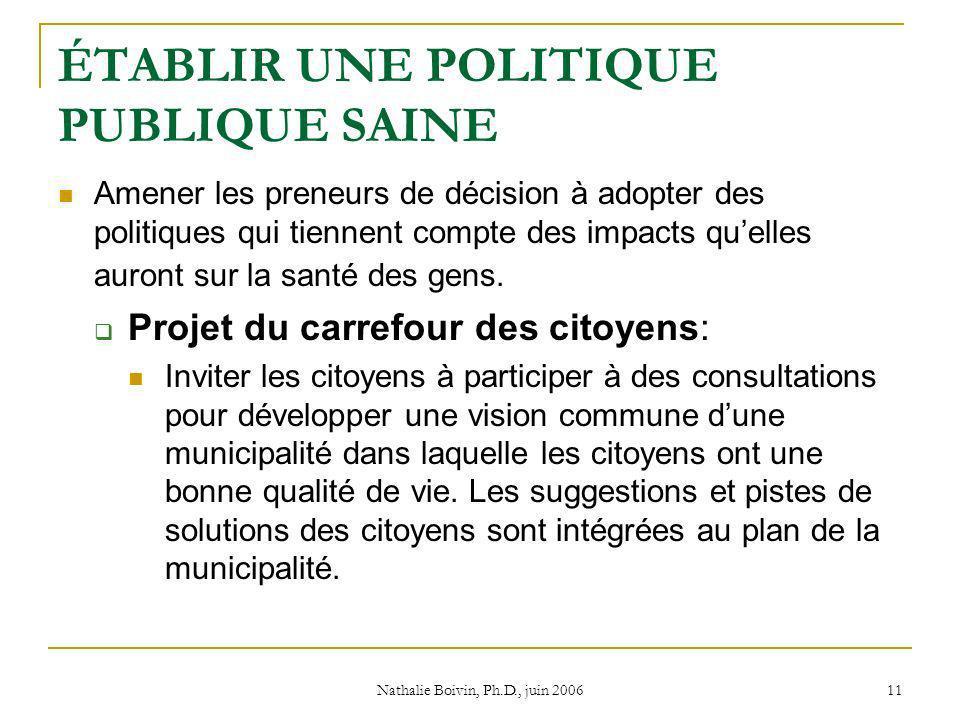 Nathalie Boivin, Ph.D., juin 2006 11 ÉTABLIR UNE POLITIQUE PUBLIQUE SAINE Amener les preneurs de décision à adopter des politiques qui tiennent compte des impacts quelles auront sur la santé des gens.