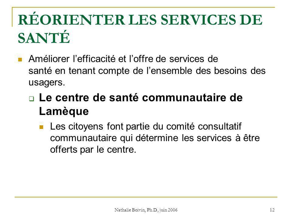 Nathalie Boivin, Ph.D., juin 2006 12 RÉORIENTER LES SERVICES DE SANTÉ Améliorer lefficacité et loffre de services de santé en tenant compte de lensemble des besoins des usagers.