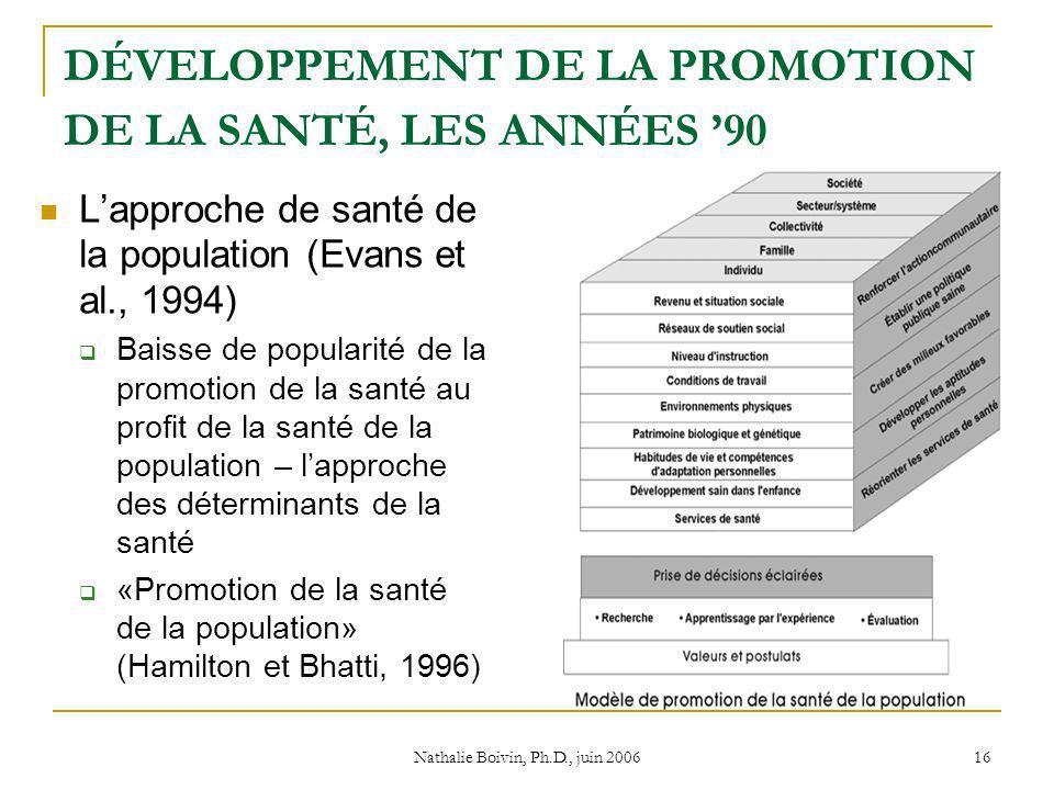 Nathalie Boivin, Ph.D., juin 2006 16 DÉVELOPPEMENT DE LA PROMOTION DE LA SANTÉ, LES ANNÉES 90 Lapproche de santé de la population (Evans et al., 1994) Baisse de popularité de la promotion de la santé au profit de la santé de la population – lapproche des déterminants de la santé «Promotion de la santé de la population» (Hamilton et Bhatti, 1996)