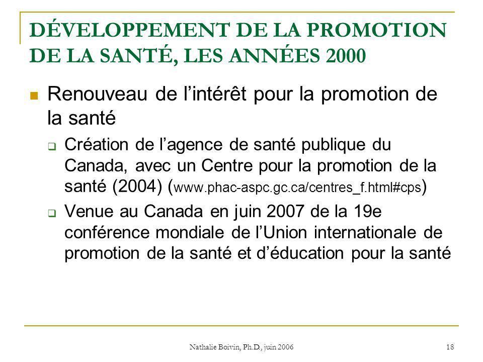 Nathalie Boivin, Ph.D., juin 2006 18 DÉVELOPPEMENT DE LA PROMOTION DE LA SANTÉ, LES ANNÉES 2000 Renouveau de lintérêt pour la promotion de la santé Création de lagence de santé publique du Canada, avec un Centre pour la promotion de la santé (2004) ( www.phac-aspc.gc.ca/centres_f.html#cps ) Venue au Canada en juin 2007 de la 19e conférence mondiale de lUnion internationale de promotion de la santé et déducation pour la santé