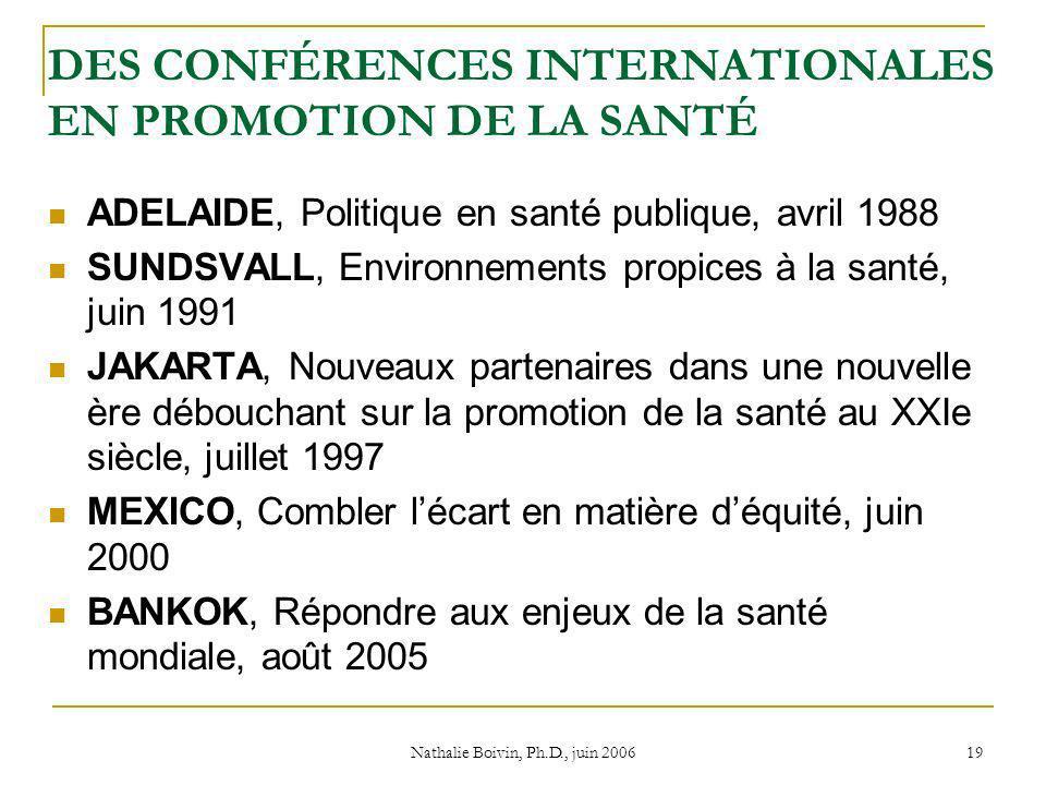Nathalie Boivin, Ph.D., juin 2006 19 DES CONFÉRENCES INTERNATIONALES EN PROMOTION DE LA SANTÉ ADELAIDE, Politique en santé publique, avril 1988 SUNDSVALL, Environnements propices à la santé, juin 1991 JAKARTA, Nouveaux partenaires dans une nouvelle ère débouchant sur la promotion de la santé au XXIe siècle, juillet 1997 MEXICO, Combler lécart en matière déquité, juin 2000 BANKOK, Répondre aux enjeux de la santé mondiale, août 2005