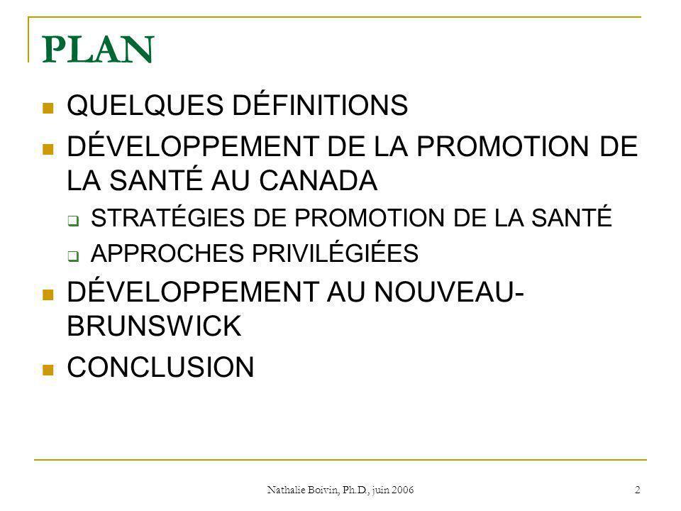 Nathalie Boivin, Ph.D., juin 2006 2 PLAN QUELQUES DÉFINITIONS DÉVELOPPEMENT DE LA PROMOTION DE LA SANTÉ AU CANADA STRATÉGIES DE PROMOTION DE LA SANTÉ APPROCHES PRIVILÉGIÉES DÉVELOPPEMENT AU NOUVEAU- BRUNSWICK CONCLUSION