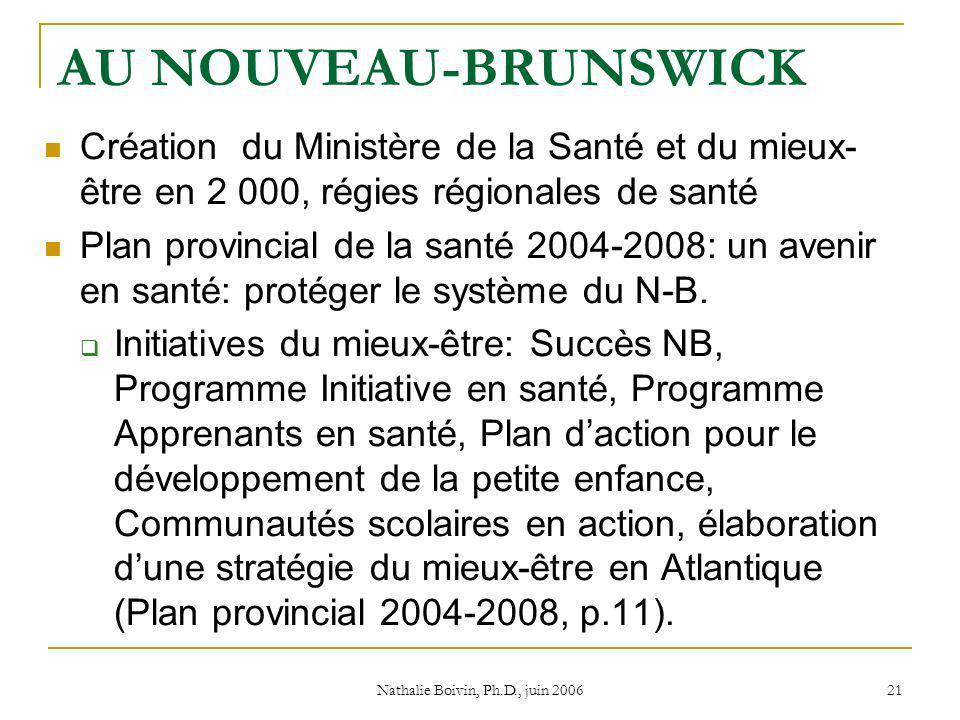 Nathalie Boivin, Ph.D., juin 2006 21 AU NOUVEAU-BRUNSWICK Création du Ministère de la Santé et du mieux- être en 2 000, régies régionales de santé Plan provincial de la santé 2004-2008: un avenir en santé: protéger le système du N-B.