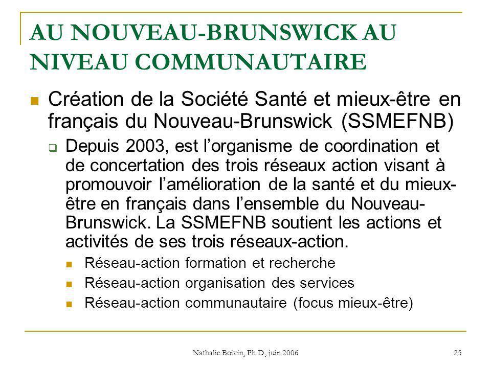 Nathalie Boivin, Ph.D., juin 2006 25 AU NOUVEAU-BRUNSWICK AU NIVEAU COMMUNAUTAIRE Création de la Société Santé et mieux-être en français du Nouveau-Brunswick (SSMEFNB) Depuis 2003, est lorganisme de coordination et de concertation des trois réseaux action visant à promouvoir lamélioration de la santé et du mieux- être en français dans lensemble du Nouveau- Brunswick.