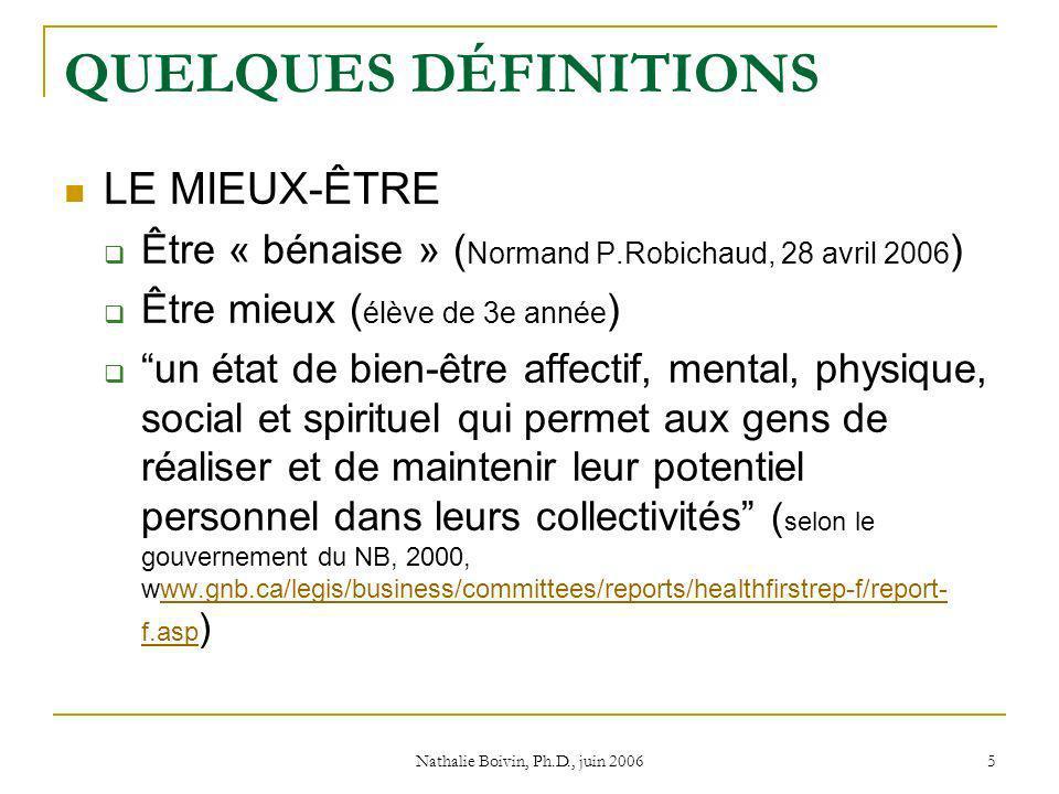 Nathalie Boivin, Ph.D., juin 2006 5 QUELQUES DÉFINITIONS LE MIEUX-ÊTRE Être « bénaise » ( Normand P.Robichaud, 28 avril 2006 ) Être mieux ( élève de 3e année ) un état de bien-être affectif, mental, physique, social et spirituel qui permet aux gens de réaliser et de maintenir leur potentiel personnel dans leurs collectivités ( selon le gouvernement du NB, 2000, www.gnb.ca/legis/business/committees/reports/healthfirstrep-f/report- f.asp )ww.gnb.ca/legis/business/committees/reports/healthfirstrep-f/report- f.asp