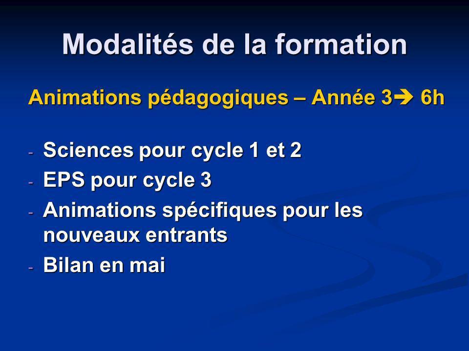 Modalités de la formation Animations pédagogiques – Année 3 6h - Sciences pour cycle 1 et 2 - EPS pour cycle 3 - Animations spécifiques pour les nouve
