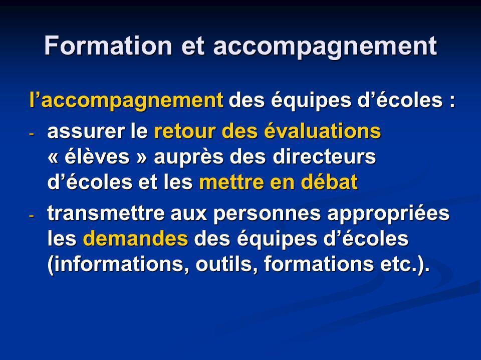 Formation et accompagnement laccompagnement des équipes décoles : - assurer le retour des évaluations « élèves » auprès des directeurs décoles et les